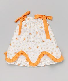 Love this White & Orange Floral Ruffle Jumper - Infant & Toddler on #zulily! #zulilyfinds