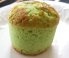 Pandan Yogurt Cakes... Pandan leaves have a sweet, unique flavor that is commmonly used in Southeast-Asian countries to enhance both desserts and savory dishes. The leaves are long and bright green, and when pounded or ground, they lend a sweet taste and aroma to many Thai desserts and some drinks.