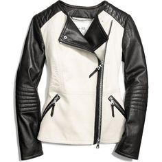 COLORBLOCK COLLARLESS LEATHER JACKET found on Polyvore