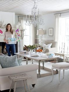 Spend the Holidays With Sarah Richardson : Decorating : Home & Garden Television   Great inspiration for me, this Winter White living room!