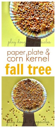 A paper plate fall tree craft decorated with corn kernels.