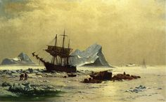 Among the Ice Floes Oil Painting Reproduction on Canvas By William Bradford Winslow Homer Paintings, Monet Paintings, Impressionist Paintings, Landscape Paintings, Landscapes, River Painting, Boat Painting, Oil Painting On Canvas, Canvas Art Prints
