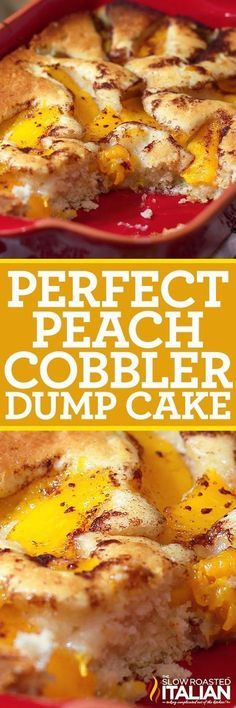 Perfect Peach Cobbler Dump Cake is a very easy recipe made in one bowl, poured into a pan and canned peaches are poured over top. It doesn't get much easier than that. Well my daughter has been maki (Dump Cake) Köstliche Desserts, Delicious Desserts, Dessert Recipes, Homemade Desserts, Health Desserts, Drink Recipes, Dump Meals, Easy Meals, Food Cakes