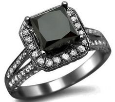 CT Black Princess Cut Diamond Engagement Ring 18 K Black Gold with sealed and certified appraisal. Learn more now! Black Gold Engagement Rings, Gothic Engagement Ring, Designer Engagement Rings, Solitaire Engagement, Solitaire Ring, Wedding Engagement, Princess Cut Rings, Princess Cut Diamonds, Gold Diamond Rings