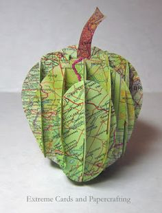 I posted a lattice version of a sliceform apple years ago, but somehow missed putting up the solid version! Recently I was messing around. Book Folding, Paper Folding, Kirigami, 3d Paper Crafts, Diy And Crafts, Sliceform, Pencil Vase, Apple Cut, Kunst