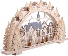 Candle arch Christmas time natural wood exclusive (72x41x7cm ...