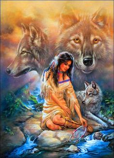 Indian Princess and Wolves
