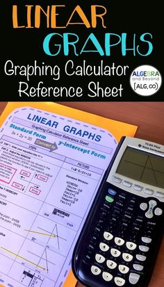 Students use this graphing calculator reference sheet to graph linear functions. They learn how to adjust the window, find the x and y-intercept, evaluate an x-value, and view the table. Very useful tool when beginning to use the calculator. Math Teacher, Math Classroom, Teaching Math, Future Classroom, Teaching Ideas, Linear Function, Xmax, 8th Grade Math, Math Resources