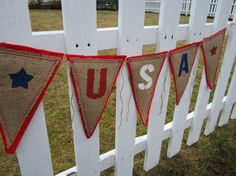 Upcycled USA Burlap Banner Red, White and Blue (with Felt Backing) Rustic Fourth of July Bunting Eco-Friendly Home Decor on Etsy, $28.24