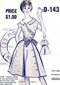 1950s Culottes Pattern Modes Royale D-143 Womens Culottes Mock Full Skirt Dress Side Button Trim Vintage Sewing Pattern Bust 36 Uncut