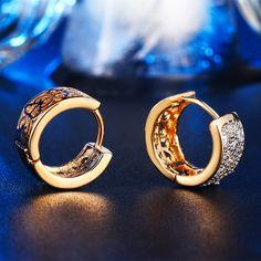 18K Gold 585 Plated Brincos Hoop Earrings For Women CZ Diamond Jewelry Wedding…