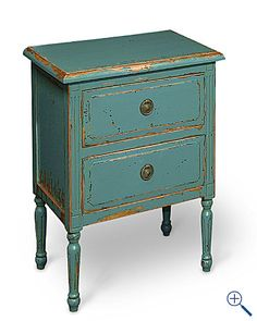 love painted distressed night stand - would love to paint the turquoise over gold to let that shine through the distressing process