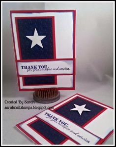 Sarah's Stamping and Stuff: Memorial Day Blog Hop with Operation Write Home Military Cards, Memorial Cards, Star Cards, Bulletins, Happy Memorial Day, Greeting Cards Handmade, Homemade Cards, Fourth Of July, Stampin Up Cards