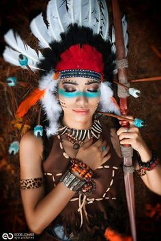 Indian from fantasy series photo lárus sigurðarson a href american indian costumenative american makeupnative native indian make up face paint indian costumes and native american how to create your own native american costume ideas wonderhowto Native American Makeup, Native American Women, American Indians, Indian Face Paints, Halloween Karneval, Indian Costumes, Red Indian, Native Indian, Cowboys And Indians