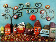 *MADE TO ORDER* ➡ 3-5 days!! ✔ ⭐⭐⭐⭐⭐⭐⭐⭐⭐⭐⭐⭐⭐⭐⭐⭐⭐⭐⭐⭐⭐⭐ ☀ Colorful Stone Wall art ☀ Rustic Wall art, Stone House ☀ pebble art, Unique Home Decor, ☀ Modern Art, stone Art ☀ Family Gift, Mothers gift, 3D Wall art, house art ⛰ The Village 7 By StefArt Stone S.A.S ⛰