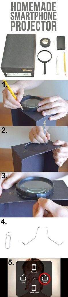 DIY: How to make homemade smartphone projector. Click on image for more.