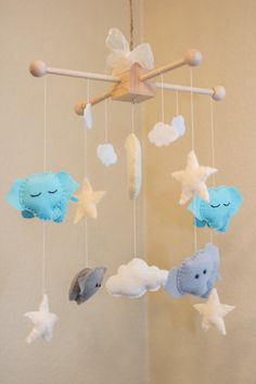 Elephant mobile Elephant moon stars and clouds by littleHooters