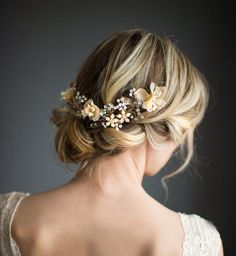 Wedding Updo with Boho Gold Halo Hair Crown