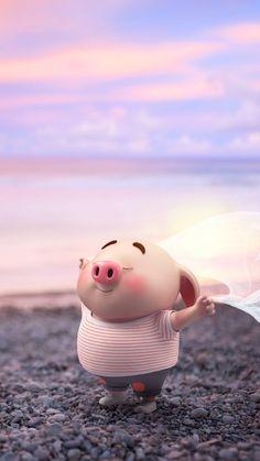 Imagenes de puerquitos, cerditos, pig Pig Wallpaper, Cute Disney Wallpaper, Cute Cartoon Wallpapers, Wallpaper Iphone Cute, Pig Illustration, Illustrations, Kawaii Pig, Cute Piglets, Funny Pigs