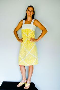 Adult pillowcase dress. http://www.potholesandpantyhose.com/2010/07/vintage-pillow-case-dress/