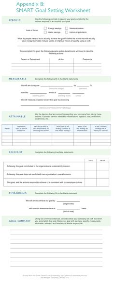 smart goal worksheet sample