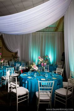 Beach Wedding Reception with a Blue and Yellow color scheme! Perfect!