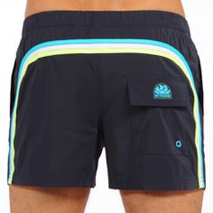 STRETCH SHORT SWIM SHORTS WITH RAINBOW BANDS AND BUTTON COLOR BLACK