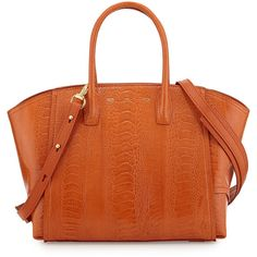 VBH Brera 30 Sport Ostrich Satchel Bag (16.690 BRL) ❤ liked on Polyvore featuring bags, handbags, orange, zip top handbags, orange purse, orange handbags, ostrich handbags and zipper tote