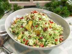Get Shaved Brussels Sprouts with Pomegranate Orange Vinaigrette and Pecans -Bobby Flay-Recipe from Food Network Shaved Brussel Sprout Salad, Sprouts Salad, Brussels Sprouts, Sprouts Recipe, Food Network Recipes, Food Processor Recipes, Salad Recipes, Healthy Recipes, Healthy Foods