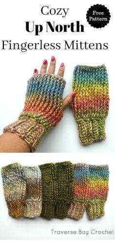 Crochet Tutorial Ideas Up North Crochet Fingerless Mitten Crochet Fingerless Gloves Free Pattern, Crochet Mitts, Crochet Wrist Warmers, Mittens Pattern, Fingerless Mittens, Crochet Stitches, Free Crochet, Crochet Granny, Hand Warmers
