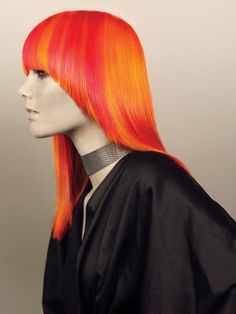 orange and yellow hair color Yellow Hair Color, Vibrant Hair Colors, Bright Hair, Hair Colour, Quiff Hairstyles, Fringe Hairstyles, Cool Hairstyles, Updo Hairstyle, Short Red Hair