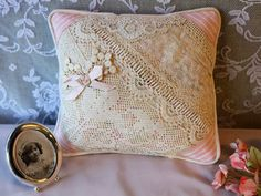 Vintage lace patchwork pillow pink&ivory by VintageBrocare on Etsy