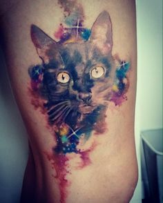 #cat #galaxy #blackcat #watercolor #tattoo #franltattoo #stars #cute #animal