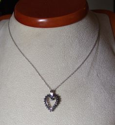 Exquisite Solid Sterling Silver & Genuine Blue Diamond Heart Necklace