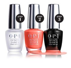 OPI infinite Shine collection at Ulta Beauty. 3 steps to beautiful shine for envious nails all season long!