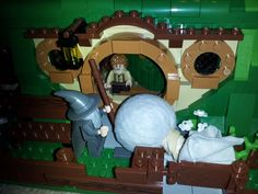 Lego Bilbo is more than a little suspicious of Gandalf, who has brought great magic to Bag End.  www.bradleypackets.com