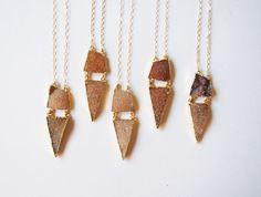 Brown Triangle Druzy Gemstone Pendant Necklace