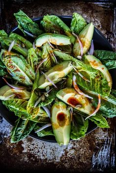 Smoky romaine and avocado salad. Easy vegan option!
