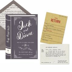 """Introducing the """"Vintage Library"""" Printable Wedding Invitation Suite featuring stationary inspired by a vintage library book. Choose from 8"""