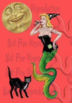 phm5 HALLOWEEN FABRIC Fantasy Fabric Block Mermaid Panel Halloween Quilt Patchwork Fabric Applique Mermaid Quilt.