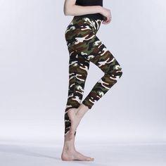 a204c8bc110 Summer Women Yoga Pants Elastic Sport Camouflage Leggings Thin Fleece Slim  Capri s - IDRAZ Camo Leggings