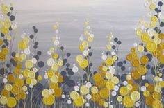 Yellow and Grey Textured Flower Art, Acrylic Painting on Canvas, MADE TO ORDER, Select a size