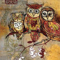 Patchwork Owls- Mixed Media