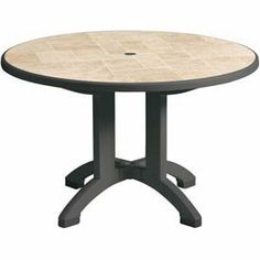 "Grosfillex® Siena 38 Round Folding Table - Charcoal by GROSFILLEX. $165.95. Round Resin Folding table with umbrella hole has a wide, four prong base for extra stability. Features a natural stone tile table top design. Pedestal base folds to allow tabletop to tilt for easy seasonal storage. Designed for use with Grosfillex resin umbrella base with filling cap. 1-year manufacturer warranty. Charcoal finish. 38""W x 38""D x 29""H overall. 39.13 L. 24.20 W. 5.00 H."