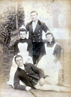 Frederick William English (front) and other servants at Egglestone Hall.