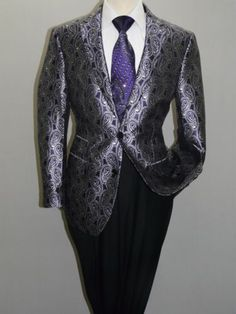 0384a58665a9c Men MANZINI Blazer Shiny Paisley Sparkles Performer Formal Stage MZS217  Purple