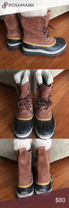 Sorel waterproof boots Bought these on Poshmark but they are too big so I'm re-selling. I wear a size 8 in boots but these fit like 9's. US size 8, EUR 39. Sorel Shoes Winter & Rain Boots