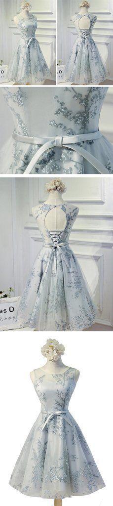 Vintage Sleeveless Round Neck Keyhole Lace Up Back Bow Sash Printing Tulle Knee Length Homecoming Dress