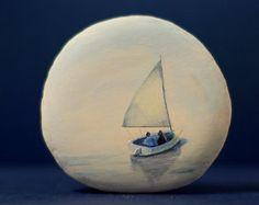 Painted stone sasso dipinto a mano. Sea house door OceanomareArt