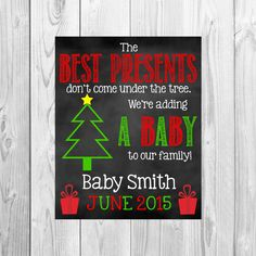 Christmas Pregnancy Announcement/ Chalkboard Poster/ Chalkboard Sign/ New Baby Christmas/ Expecting/ Facebook Pregnancy Reveal/ Grandparents (7.00 USD) by DylanAndMadison